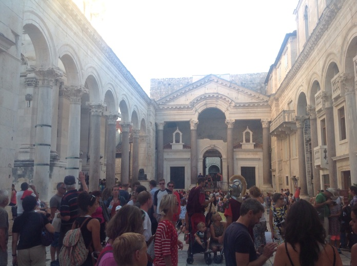 Centre square in Split old town, completely packed