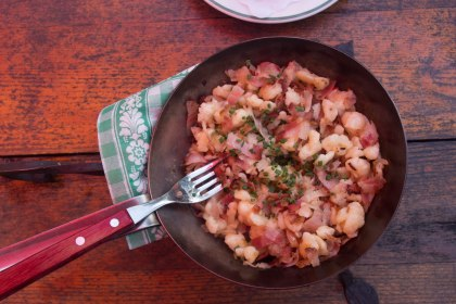 """A local dish 'Specknorkrel"""" (gnocci with pancetta and onions) hit the spot"""