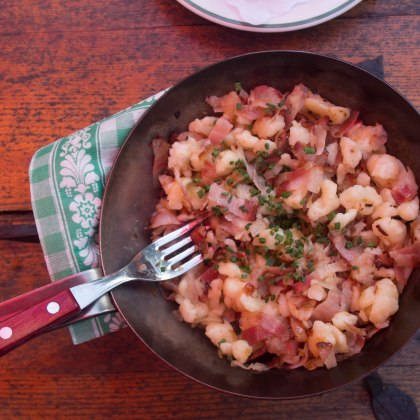 "A local dish 'Specknorkrel"" (gnocci with pancetta and onions) hit the spot"