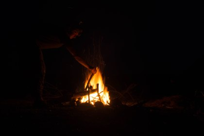 Our fist night to make a camp fire