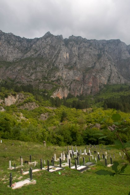 Graves covered the Bosnian country side these tall white gravestones are typical of muslim graves