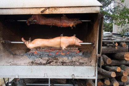 After a long break in the heat of the day we were trying to make up miles in the evening but the sight of two pigs on a spit stopped us in our tracks