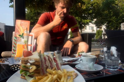 3 euro for this huge club sandwich , great way to start the day