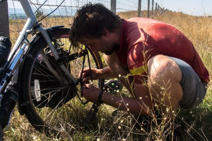 Hugo removing a sheared bolt from his frame