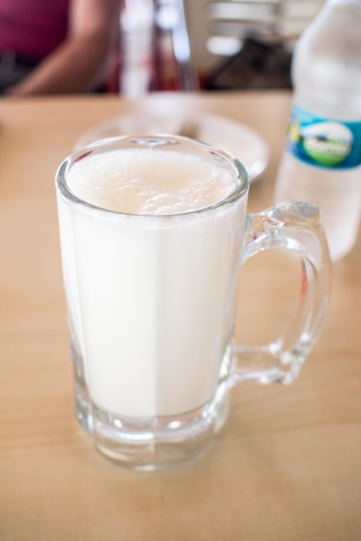 """A nice tall glass of milk, what a treat"" Actually this is ayran a ubiquitous yogurt based drink. It is sometimes mixed with water but sometimes it's fizzy after having been mixed with soda water."