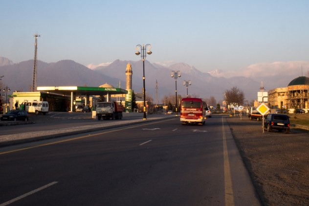 Mosques, petrol stations and mountain summed up our riding in northern Azerbaijan
