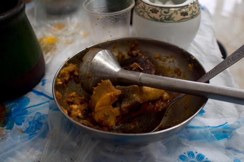 Abghoust is a mutton, potato, tomato and chickpea stew. which you pour into a bowl and mash with the mallet