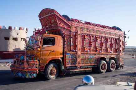 These are the main truck used to transport everything in Pakistan. With horns as elaborate as their designs.