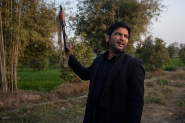 This is Habib. Habib only wears black, he doesn't speak and he always sits slightly outside the group of people. Yet when we were shooting the guns he was the one showing us how to do it.