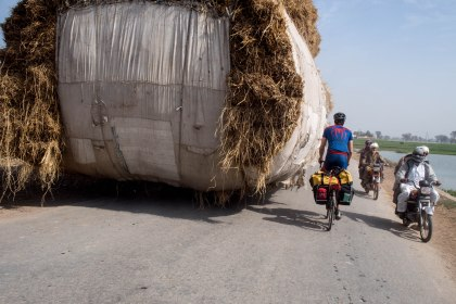 These hay carts were very common on the narrow punjab roads