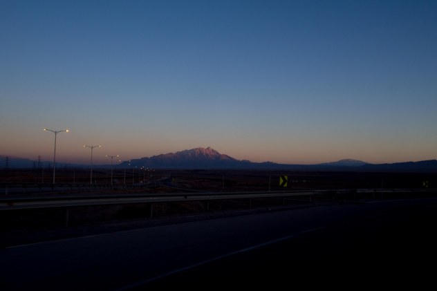 Sun setting on our way into Kerman