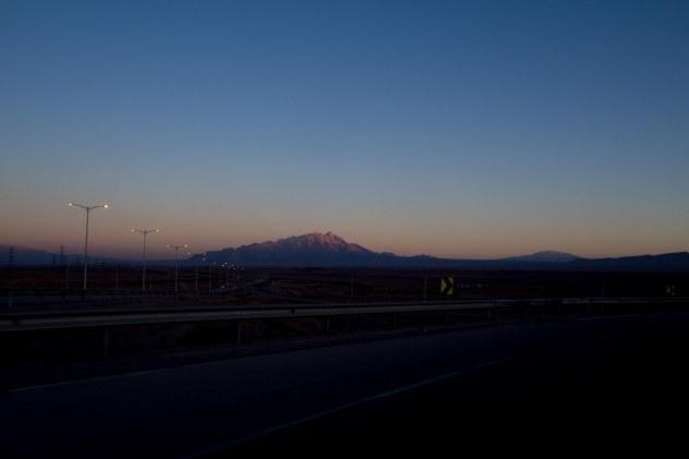 Sun setting on our way into Kerman