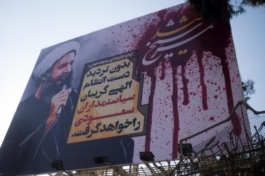 A slightly bloodier poster. An in true iranian style the saudi embassy was stormed.