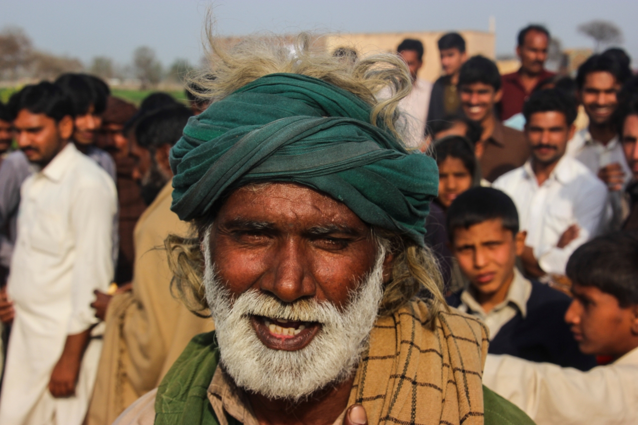 Colorful local at a drum-beating contest in a small Punjabi village.