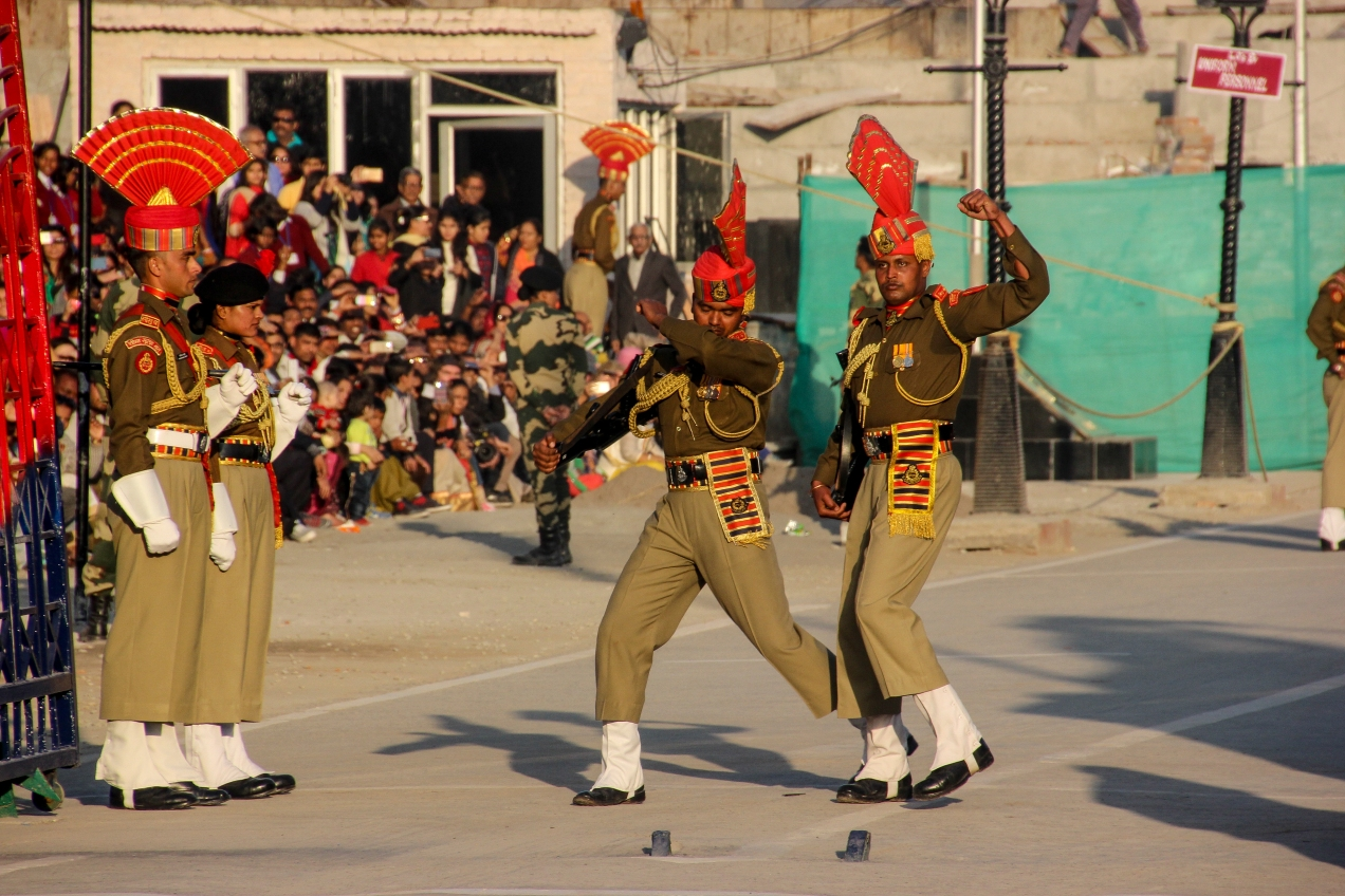 The Wagha border ceremony outside Lahore. The whole thing basically is a contest between the Indian and the Pakistani rangers about who can shout the loudest and kick the highest. While looking as angry as possible.