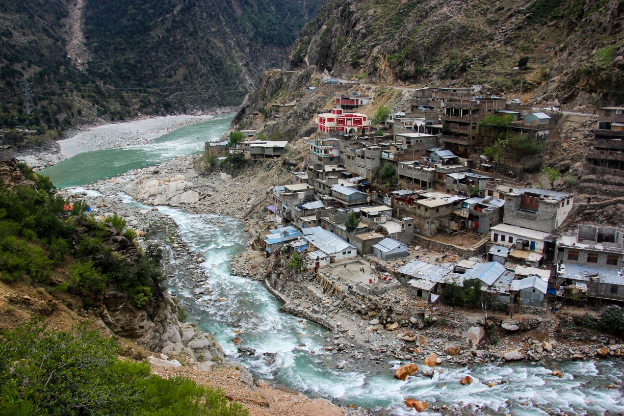 Small mountain village with the Indus in the background.