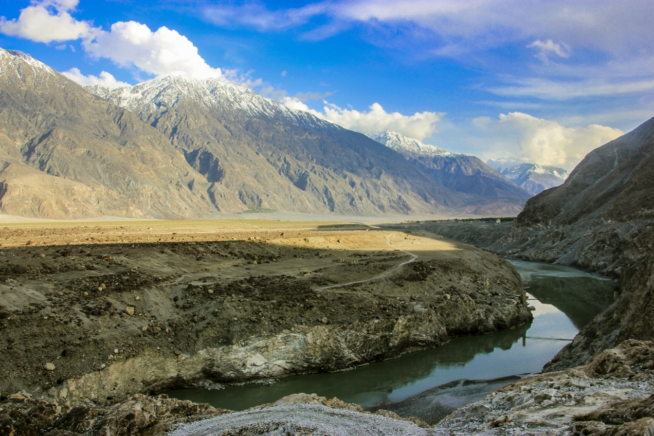 Gilgit River at the entrance into the huge Gilgit-valley