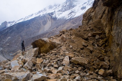 One of the many landslides which we crossed in hope of still being able to get to China overland. We're slow learners.