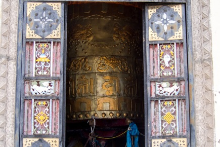 A giant Prayer wheel at our first monastery