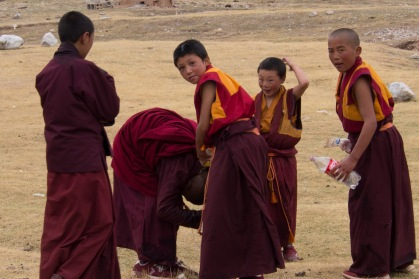 Monks having a waterfight